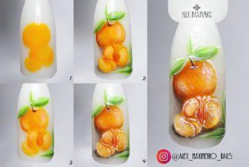 зимний дизайн ногтей мандарины