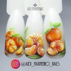 новогодний маникюр мандарины