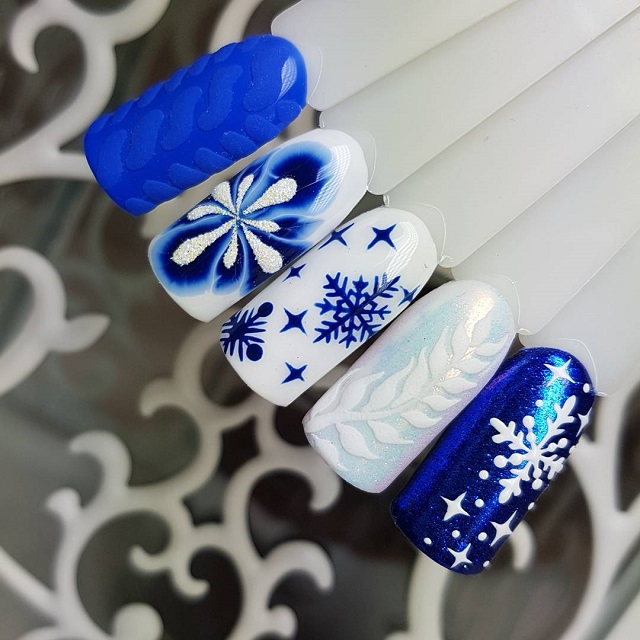 маникюр со снежинкой по мокрому