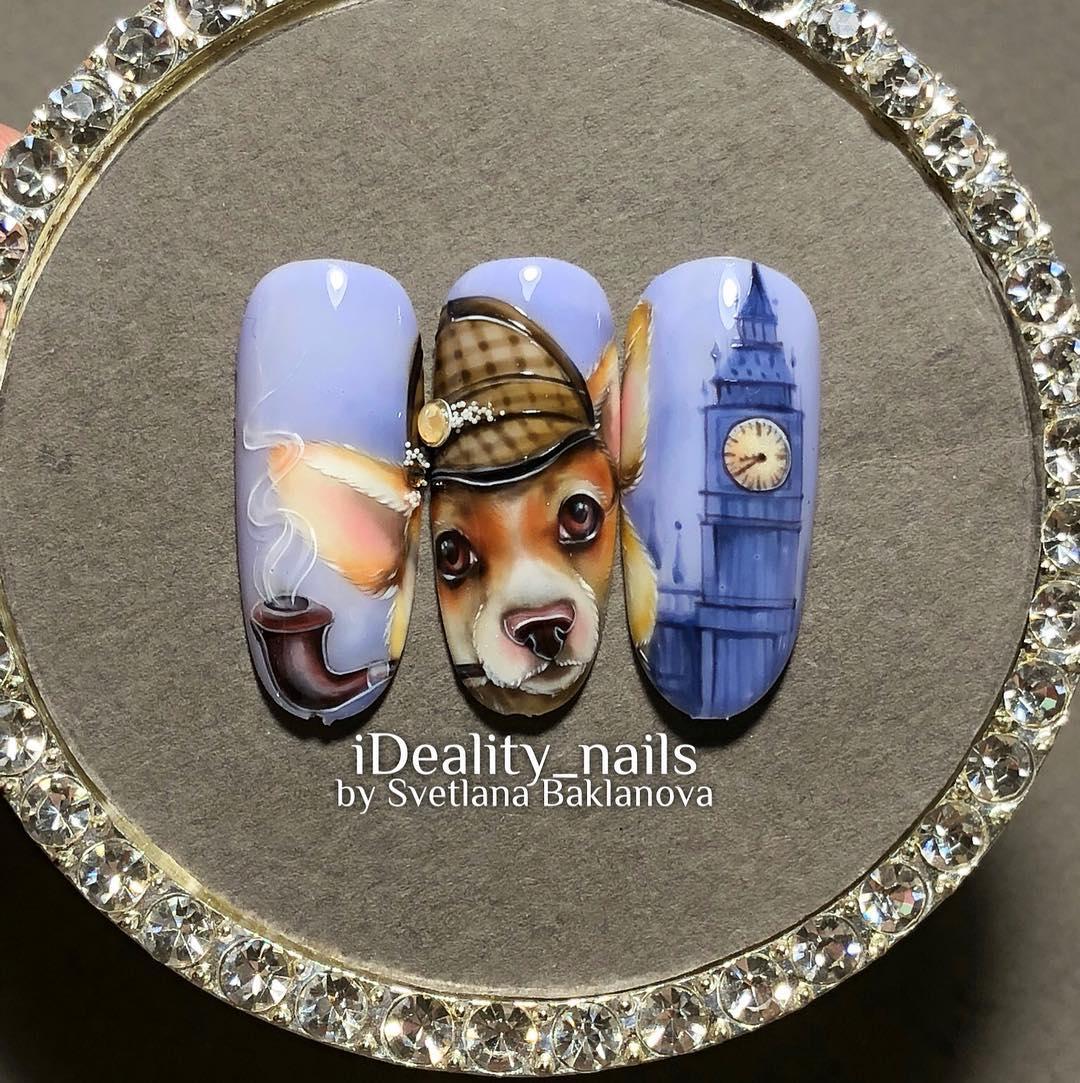 маникюр с лондонской собакой