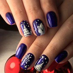 фиолетовый маникюр полярный медведь