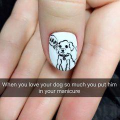 маникюр с собакой на ногтях