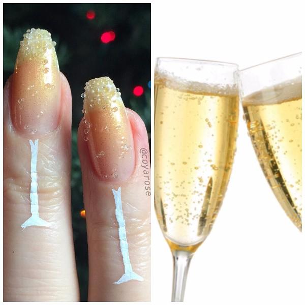 новогодний маникюр с пузырьками шампанского