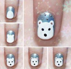 рисуем медвежонка на ногтях