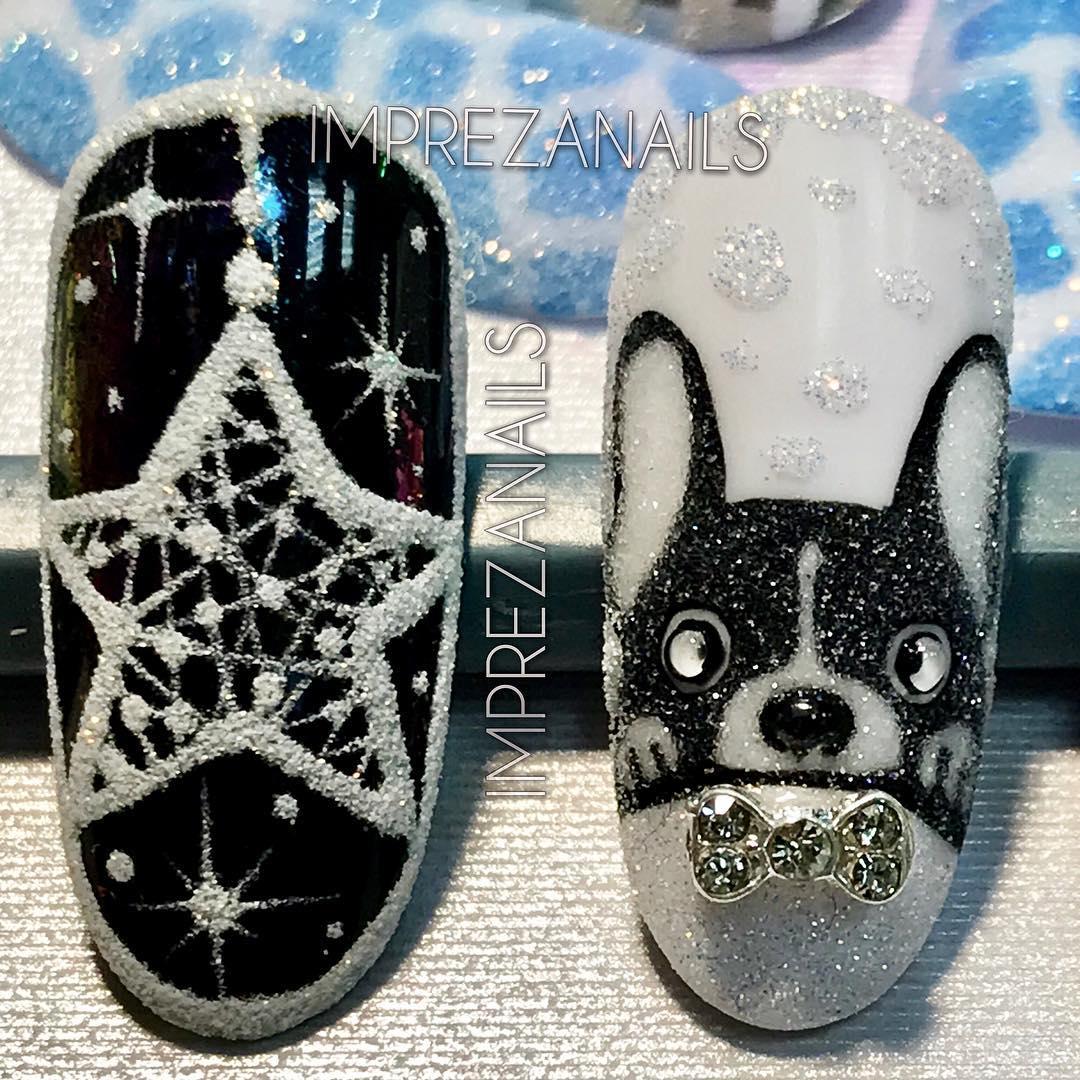 новогодний маникюр с собакой