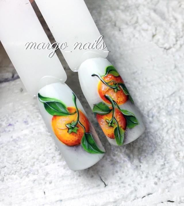 рождественский маникюр с мандаринами