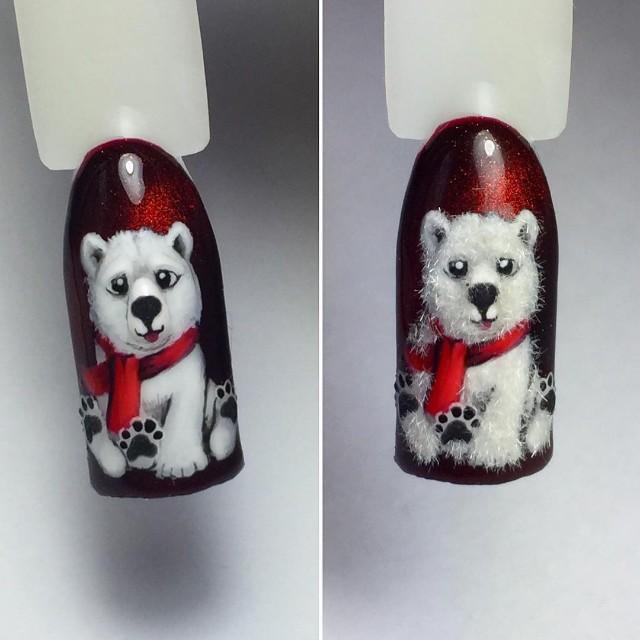 маникюр с полярным белым медведем