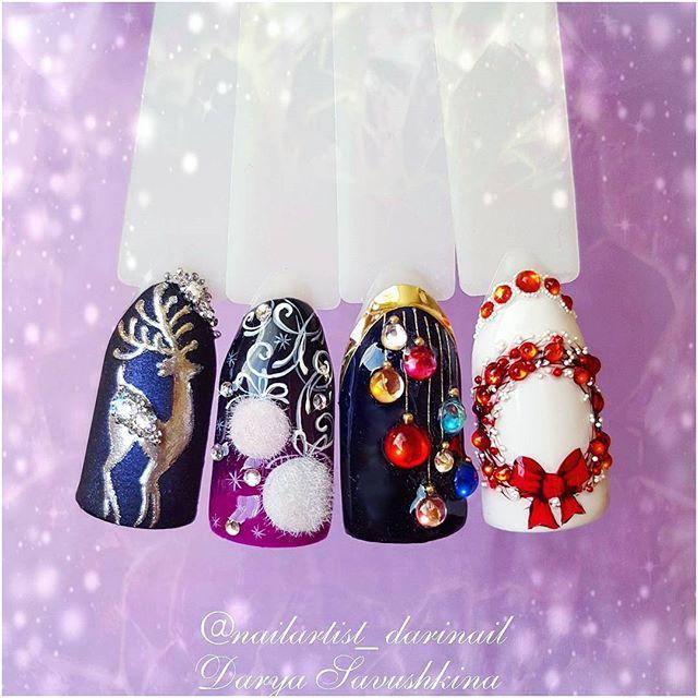 новогодние дизайны ногтей с пушистыми елочными игрушками