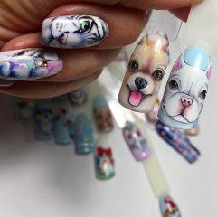 маникюр с рисунком собаки