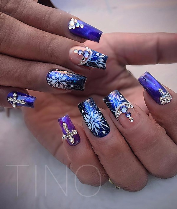 фиолетово-синий новогодний френч