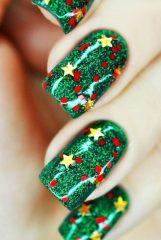 красно-зеленый рождественский маникюр