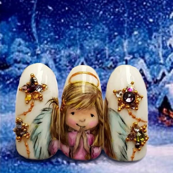 маникюр рождественский ангел