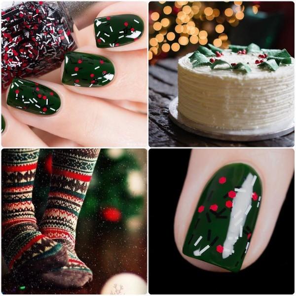 красно зеленый простой рождественский маникюр
