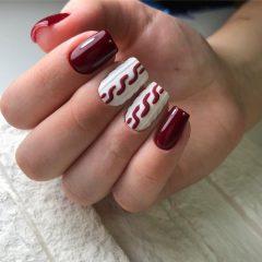 бордово белый маникюр с вязкой на ногтях