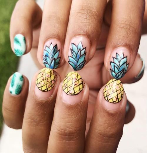 маникюр-на-лето-ананас