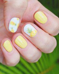 светло-желтый-маникюр-ананасы