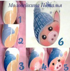 как-рисовать-свинью-на-ногтях