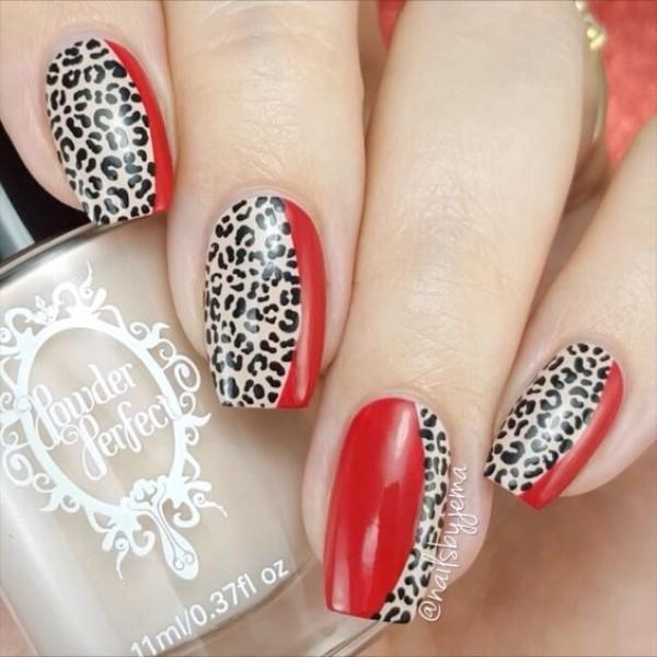 красно-леопардовый-маникюр