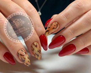 красный-леопардовый-маникюр