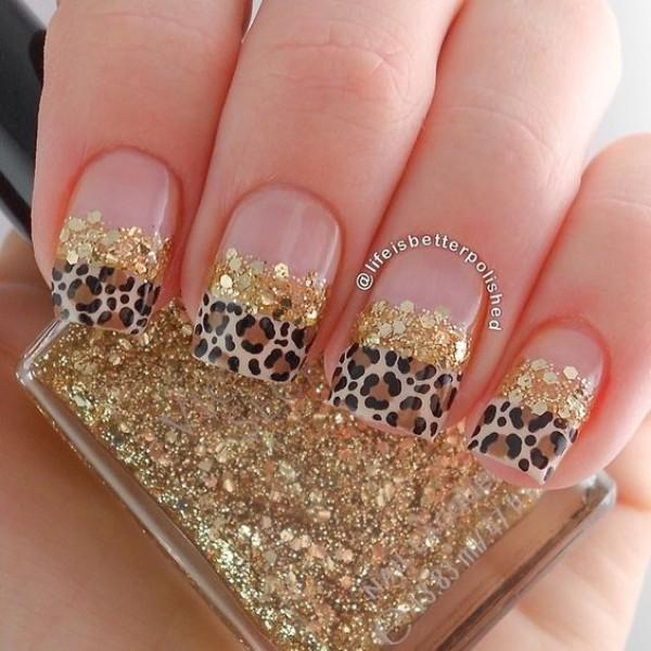 леопардовый-маникюр-с-золотыми-блестками