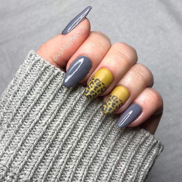 леопардовый-маникюр-желто-сиреневый