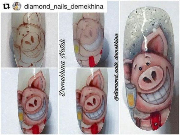 новогодний-маникюр-свинка-на-ногтях