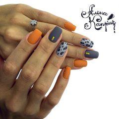 оранжево-серый-леопардовый-маникюр