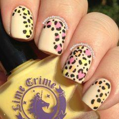 розово-желтый-маникюр-с-леопардовыми-пятнами