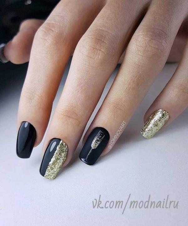 дизайн ногтей черный с золотом фото 2