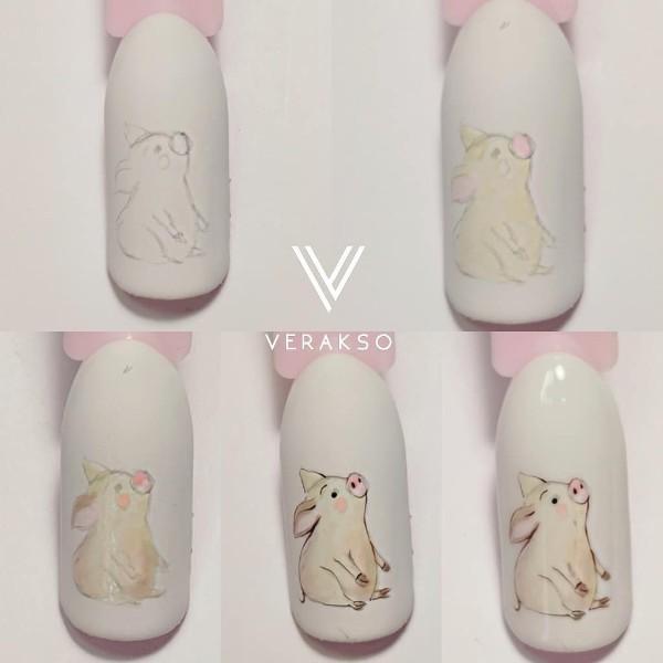 как нарисовать дизайн ногтей свинья