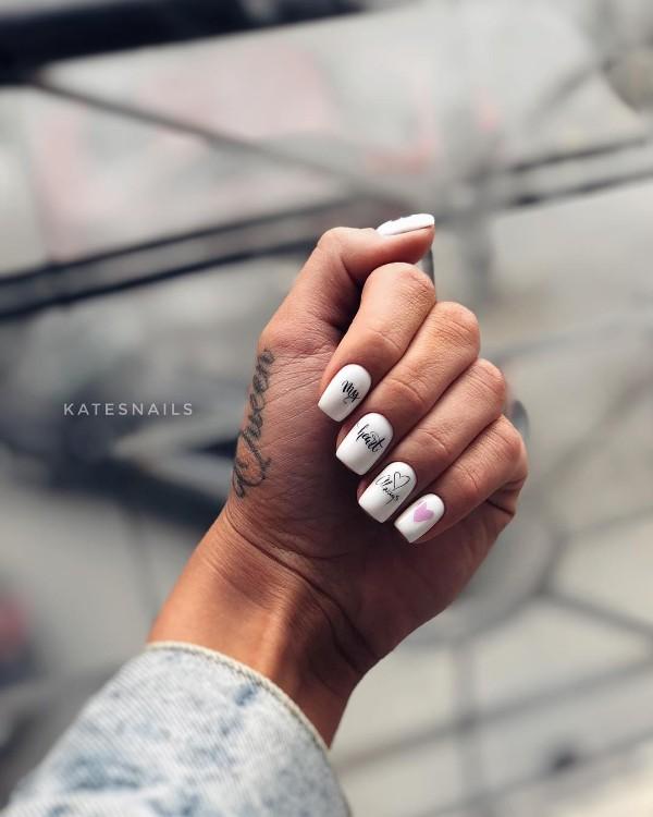 ногти с надписью мое сердце всегда с тобой