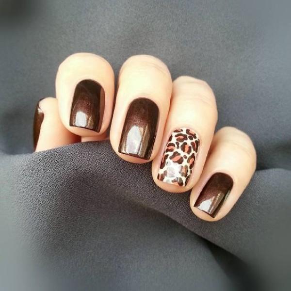 коричневый-леопардовый-маникюр-хром