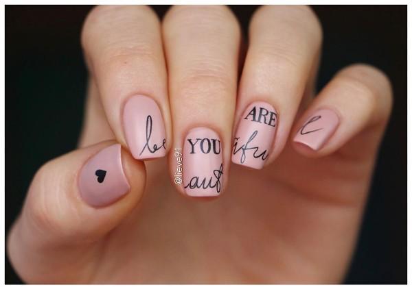 ногти с надписью you are beautiful