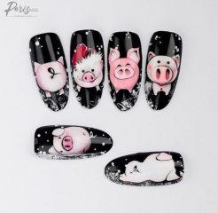 маникюр на Новый год свиньи - фото