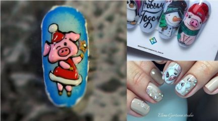 СВИНОсимвол Нового года 2019 на ногтях
