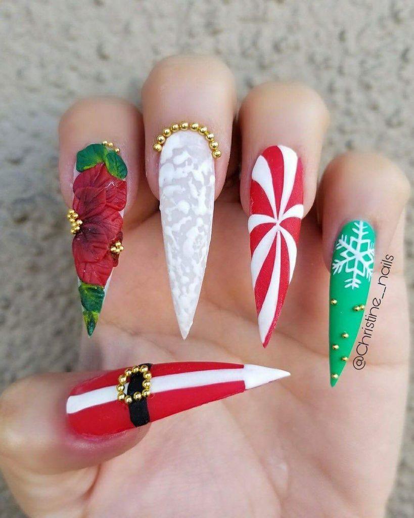 Острые ногти-стилеты с дизайном леденец