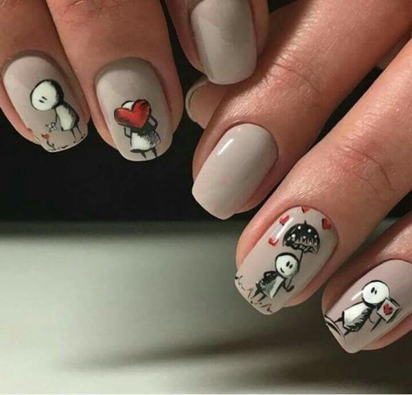 дизайн ногтей с человечками и сердцами на День Валентина