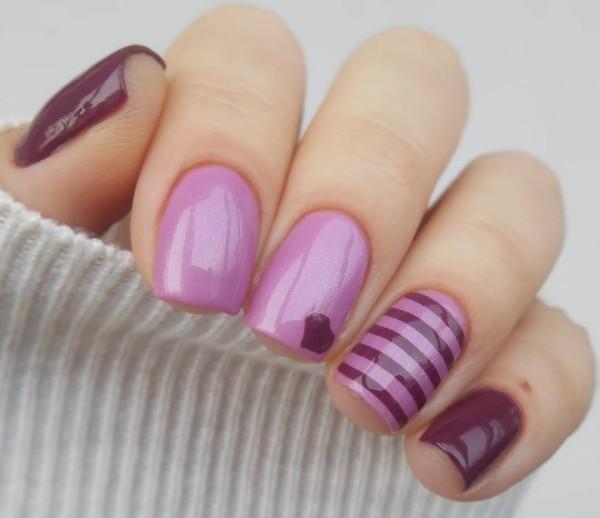 лилово-фиолетовый дизайн ногтей с сердечком
