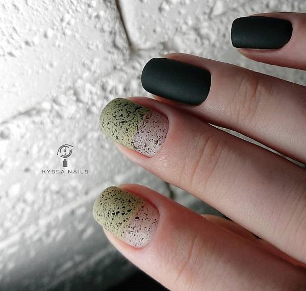 зелено-черный маникюр перепелиная скорлупа