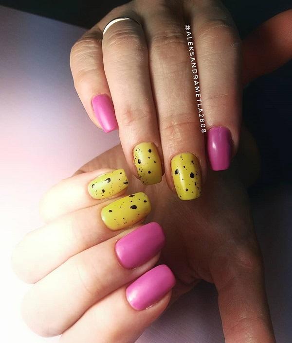 розово-желтый маникюр перепелиная скорлупа