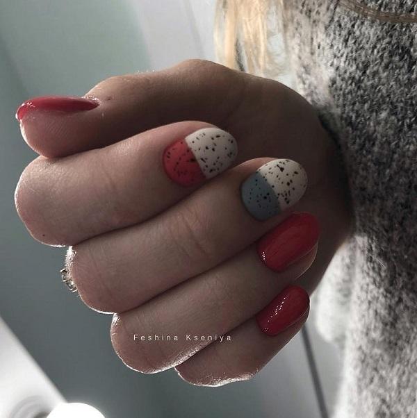 красный белый серый дизайн ногтей перепелиная скорлупа