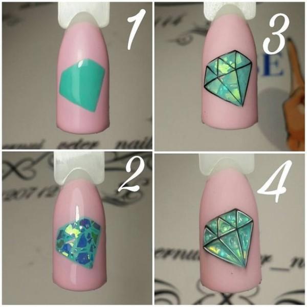 как нарисовать бриллиант на ногтях