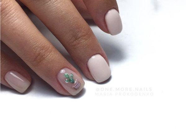 нюдовый маникюр кактус объемный