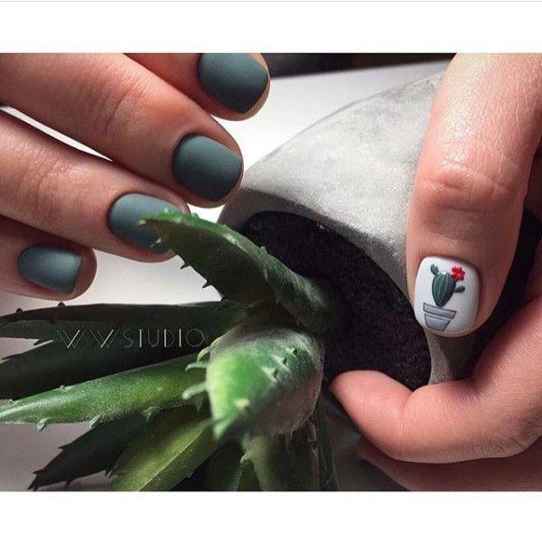 зеленый матовый маникюр кактус
