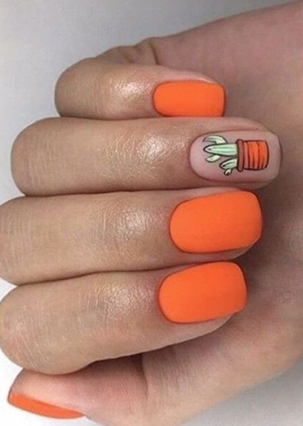 матовый оранжевый маникюр с кактусом