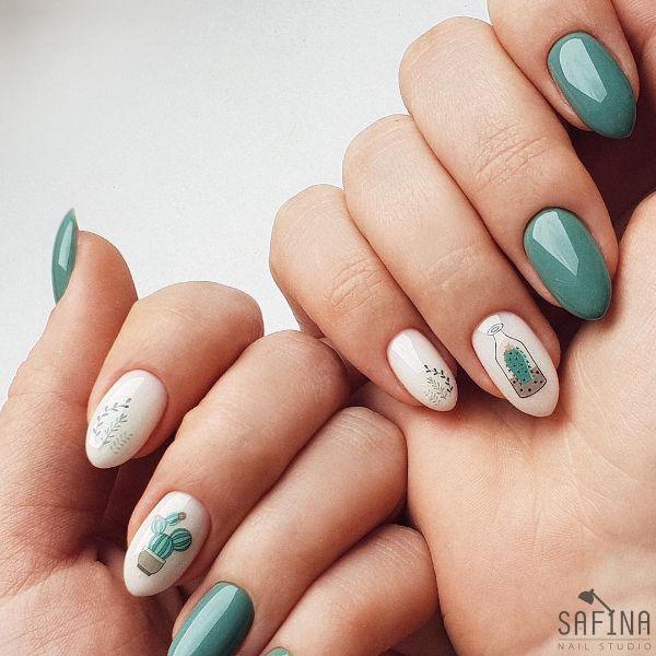 маникюр кактус на острых ногтях