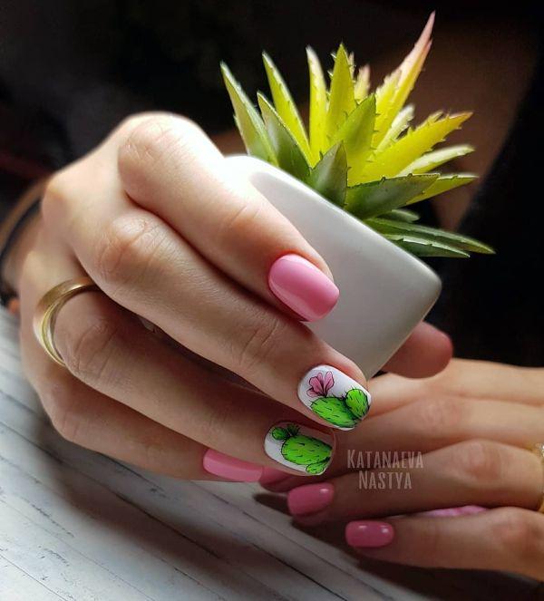 маникюр кактус розовый
