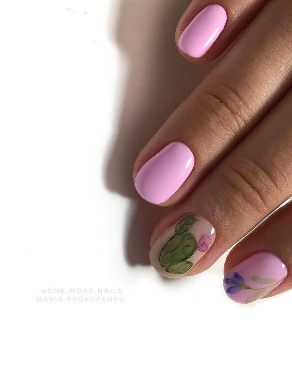 маникюр кактус розовым гель-лаком