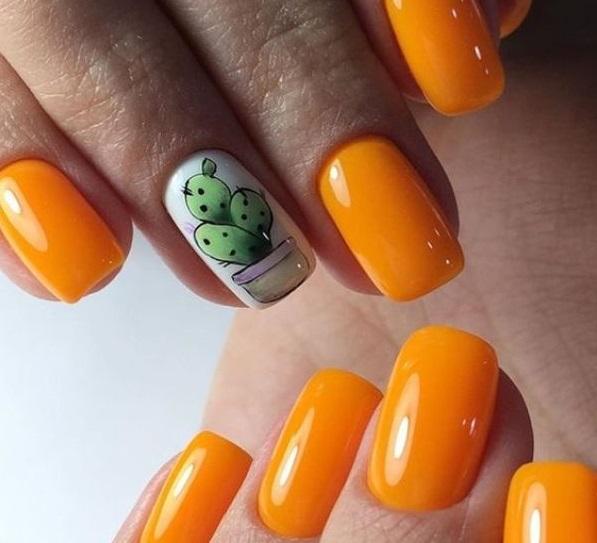 оранжевый маникюр с кактусом