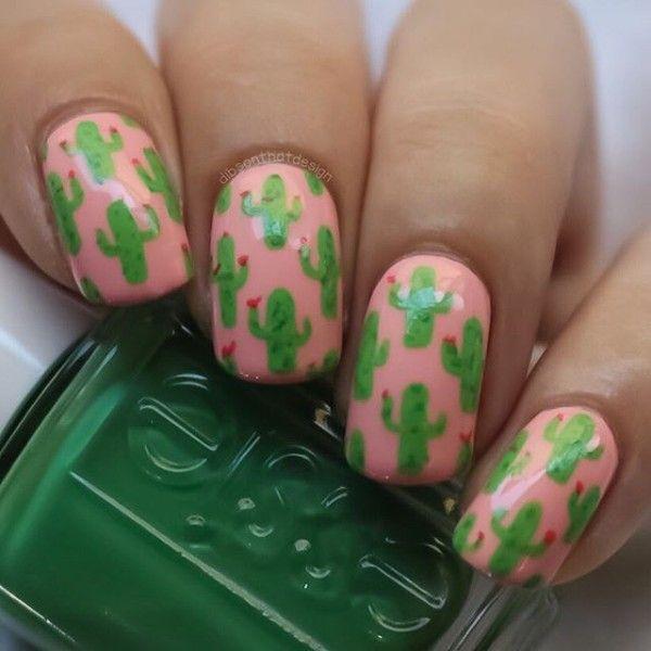 розово-зеленый маникюр кактус